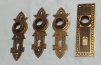 4 Antique Brass Door Plates  Arts and Crafts ca. 1900