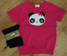 Crazy 8 hot pink panda bear face sweater & black leggings NWOT NWT 5 6 SCHOOL