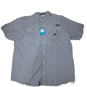 Mens Columbia PFG Super Bonehead S/S Button Front Shirt Blue 2XL NWT $50 MSRP