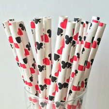 25 Alice In Wonderland Paper Straws Mad Hatter Casino Poker Magic Birthday Party