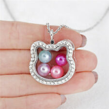 Flower With Rhinestone Locket Magnetic Glass Beads Cage Silver Necklace K1257