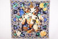 GUCCI 87cm Large scarf 100% Silk Flower pattern Stall Shawl Multicolor 3703k