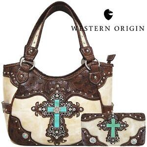 Western Style Purse Cross Country Handbag Women Shoulder Bag Wallet Set Beige