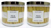 2 Bath & Body Works White Barn TEA & LEMON 3-Wick Scented 14.5 oz Candle