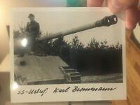 GERMAN PANZER ACE Karl Brommann Signed Photo - KILLS PAINTED ON TANK BARREL