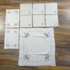Vintage Table Linen Set Placemats Tablecloth Floral Off White Cream Embroidered