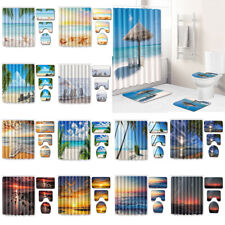 Beach Sunset Bathroom Shower Curtain Bath Curtains Rugs Toilet Seat Cover Decor