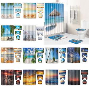 Beach Seaside Shower Curtain Screen Sunset Ocean Wave Bathroom Mat Rug Palm Tree