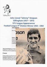 JOHNNY Simpson Gillingham 1957-1972 rare original main signé magazine découpe