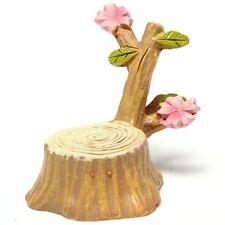Miniature Cherry Tree Stump Dollhouse Garden Fairy Ornament Pot Plant Craft C4U5