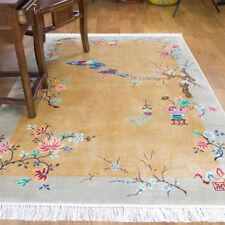 YILONG 4'x6' Chinese Handmade Art Deco Vintage Silk Rug Classical Floral Carpet