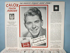 1943 McKesson's Movie Star Calendar Calox Tooth Powder Premium Ronald Reagan