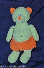 Peluche Doudou Chat CP INTERNATIONAL Vert Short Orange 23 Cm TTBE