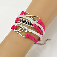 Heart to Heart Infinity Pink Red Leather DIY Woven Charm Bracelet Bangle 17-22cm