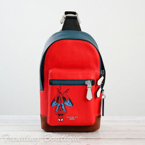 NWT Coach x Marvel 2407 Spider-Man West Pack Leather Sling Bag in Red Multi