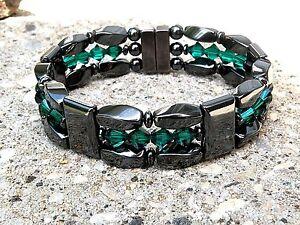 Magnetic Hematite Bracelet Anklet Necklace 3 Row w Emerald Swarovski