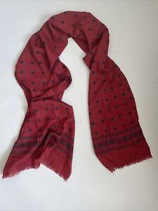 Mens Red Polka Dot Silk And Wool Tubular Scarf