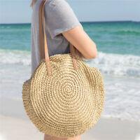 Straw Handbag Summer Beach Bag Hand-woven Round Woman's Shoulder Bag Travel