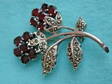 Vintage Sterling 925 Marcasite Blood Red Garnets Floral Flowers Brooch Pin