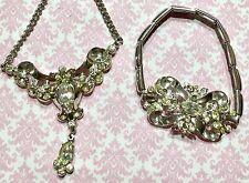 "Vtg Coro Rhinestone Lavaliere 14"" Choker Necklace & Bracelet Set-Estate"