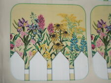 """FLOWERS, PICKET FENCE ,6 fabric designs 8""""x8"""" used for potholders - NEW"""