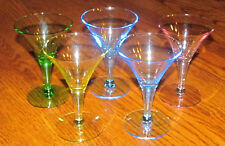 5 Fancy Colored Glass Bar Barware Shot or Small Drink Glasses Blue Yellow Green