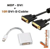 Mini DisplayPort DP to DVI Adapter M/F + 10FT DVI-D Cable M/M For Apple iMac