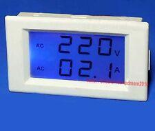 AC 300V 50A Blue LCD Dual Panel Volt Amp Combo Digital Meter +CT 110v 220v 240v