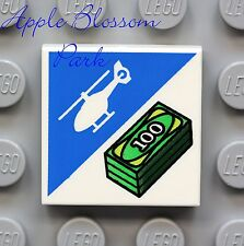 NEW Lego HELICOPTER 2x2 Printed FLAT MINIFIG TILE -White Blue Green w/Bill Money