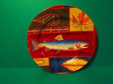 American Atelier Northern Lights Hand Painted Salmon Fish Salad Plate #5073