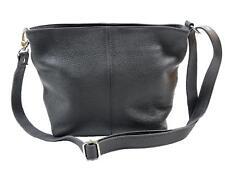 Damen Umhängetasche aus Leder    Schwarz     Schultertasche Handtasche Tasche