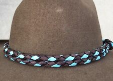USA HAT BAND HAND BRAIDED DEERSKIN LEATHER LOOP STYLE WESTERN HATBAND TURQUOISE