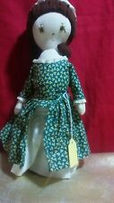 "Vintage 12"" Colonial Doll w/Brown Eyes,Bonnet And Green Dress On Stand Yarn Hair"