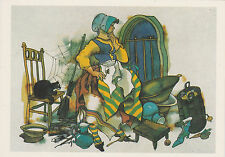 1986 RARE French Fairy Tale Witch Cat by Kim old Russian Soviet postcard