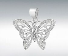 STERLING SILVER CZ 32MM X 30MM CUTOUT BUTTERFLY PENDANT