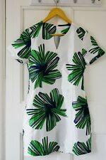 Green Palm Leaves White Print Mini Dress, Elegant Women Short Skirt, M S 8 10