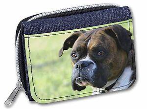Brindle and White Boxer Dog Girls/Ladies Denim Purse Wallet Christmas , AD-B27JW