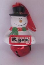 25398 RYAN NAME FROSTY SNOWMAN COLOUR BELL CHRISTMAS TREE DECORATION GIFT