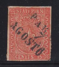 Parma - 1853 c.15 vermiglio, ben marginato annullato.