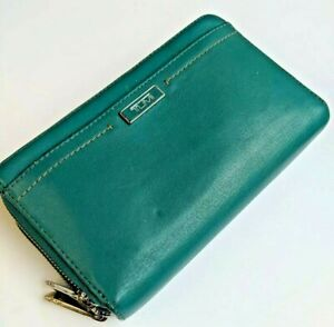 TUMI Zip -around Clutch Wallet Teal Aqua Turqpoise Leather