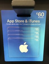 ITUNES £60 App Store & iTunes Gift Card - 4 x £15 cards - 100% genuine