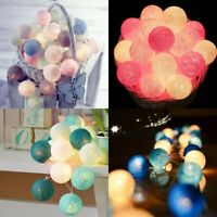 20 Cotton Ball String Fairy Night Lights USB LED Bulb Bedroom Party Home Decor