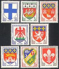 France 1958 French Towns Coats-of-Arms/Heraldry/Ships/Lions/Castle 8v set n41765