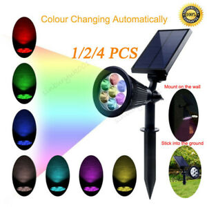 7 LED Solar Spot Lights Color Changing Garden Light Outdoor Waterproof Yard Lamp