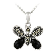 925 Silver Marcasite & Onyx Butterfly Pendant, 18""