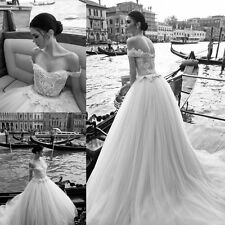 Off The Shoulder Princess Wedding Dress Tulle Bridal Gown Custom Size 4 6 8 10