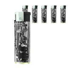Vintage Alien Abduction D9 Lighters Set of 5 Electronic Refillable Butane