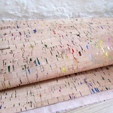 Liège tissu/cuir naturel-Arc en Ciel Métallique inclusions Largeur 72 cm par 1/4m