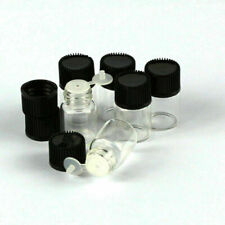 50Pcs 2ml Clear Tiny Small Glass Empty Oils Bottles Vial With Black Screw Cap