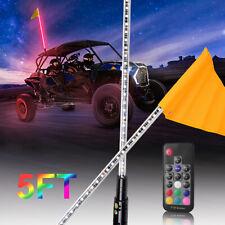 5ft Rgb Led Lighted Antenna Light Whip Flag Remote For Atv Utv Polaris Rzr Buggy